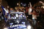 epa08548676 FC Porto's sccer fans celebrate after winning their 29th Portuguese First League title at