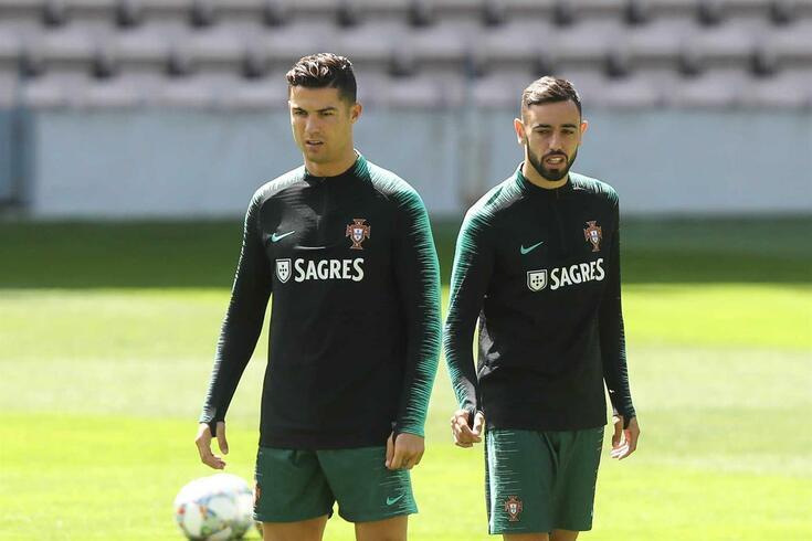 Cristiano Ronaldo e Bruno Fernandes na Seleção Nacional
