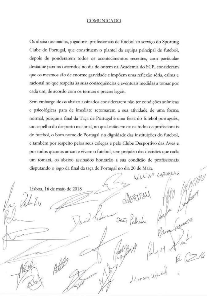Plantel do Sporting joga a final da Taça e explica a decisão