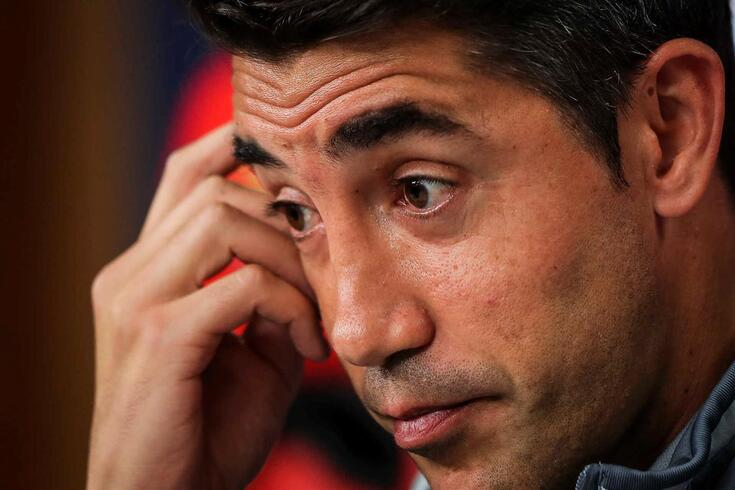Benfica's head coach Bruno Lage attends a press conference in Luz stadium in view to the upcoming Champions