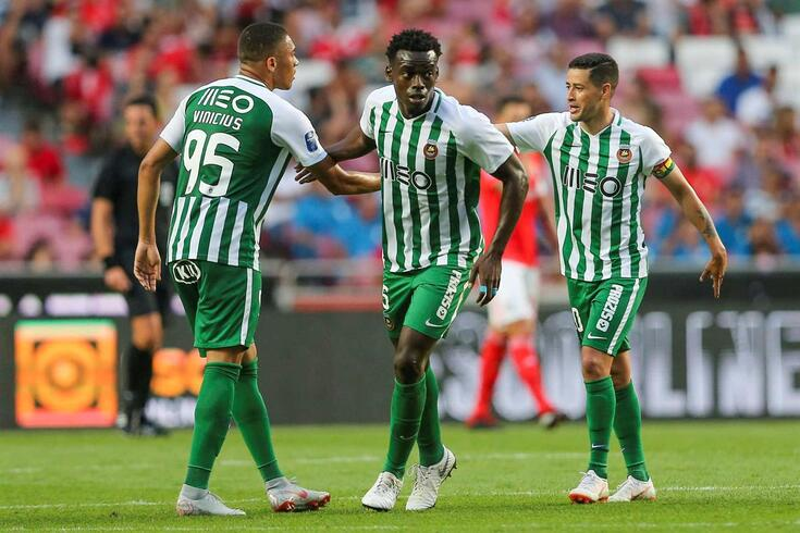 Rio Ave`s Vinicius (L), Buatu (C) and Diego celebrate the scoring of a goal against Benfica during their