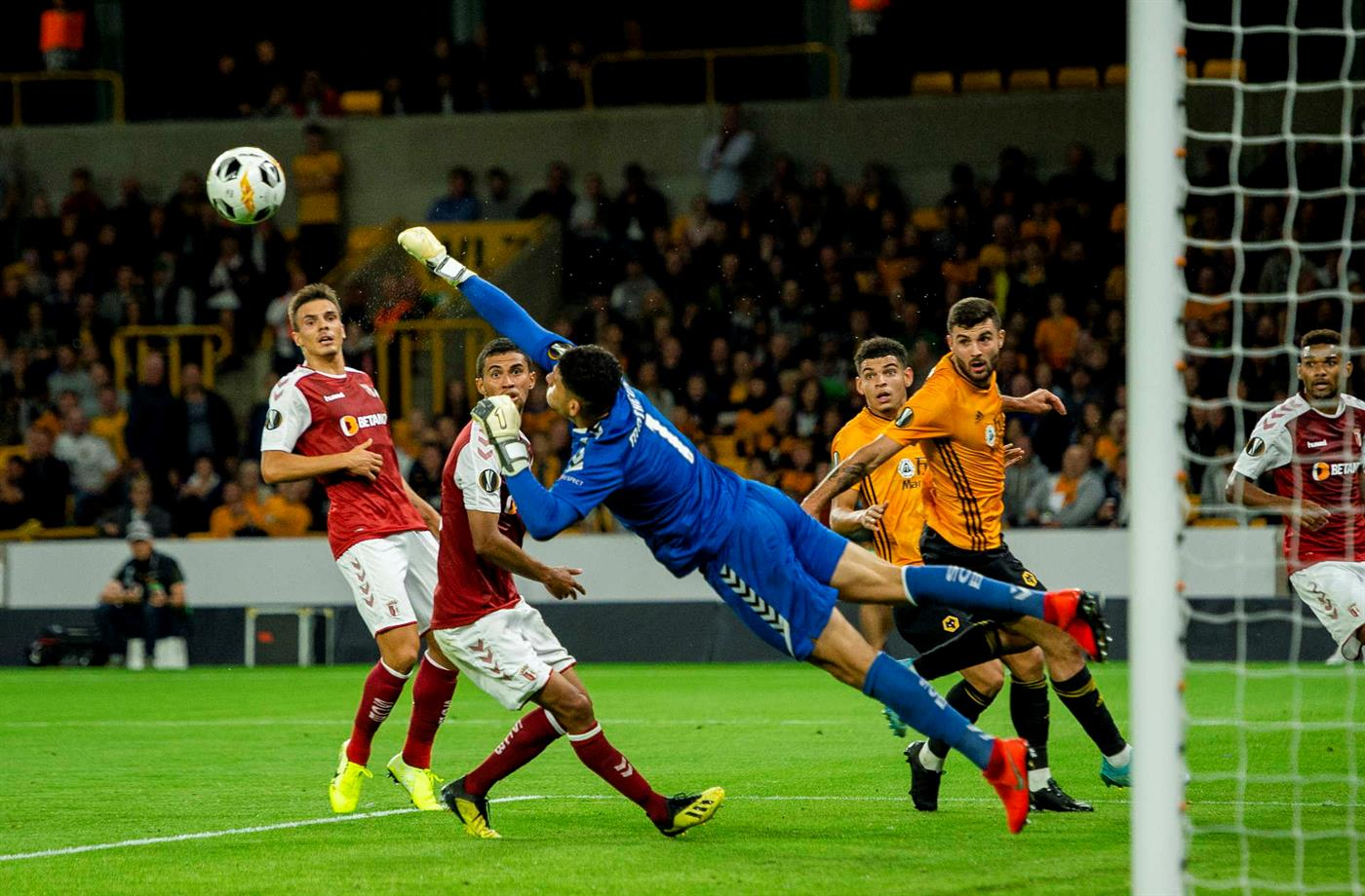 epa07854436 Braga's Matheus Magalhaes in action during the UEFA Europa League group K soccer match between