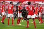 epa08504643 Santa Clara's Zaidu Sanusi (C) celebrates after scoring the 2-1 lead during the Portuguese
