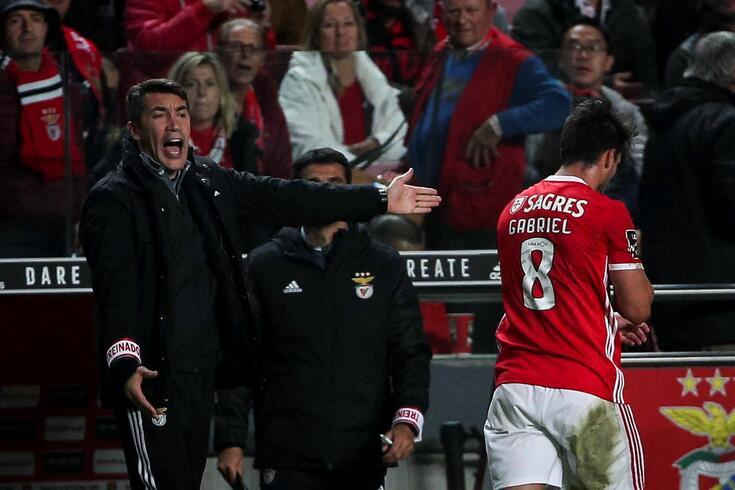 Bruno Lage irritou-se com Gabriel no Benfica-Marítimo