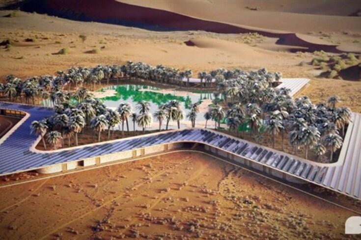 Hotel ecológico nasce em redor de um oásis no deserto da Arábia