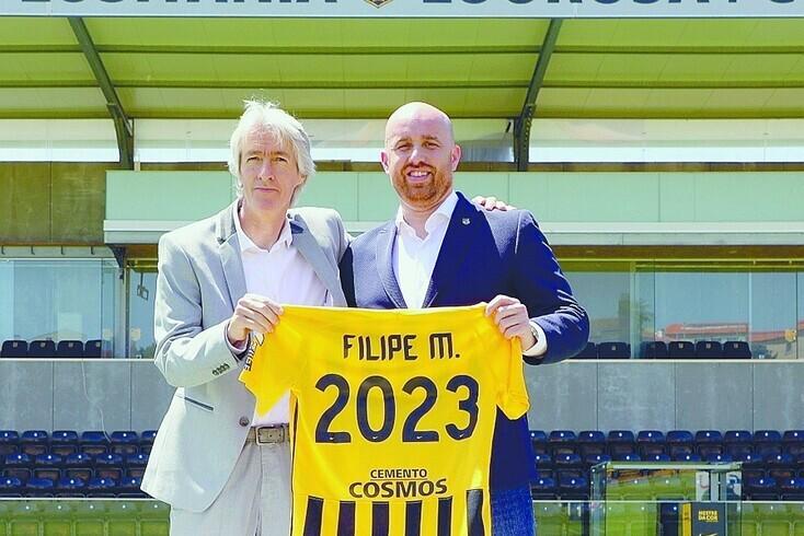 Filipe Moreira com o presidente Hugo Mendes