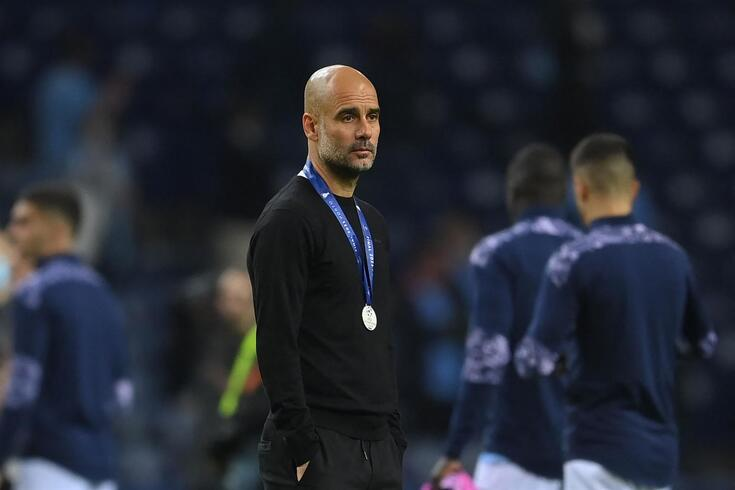 Guardiola desolado após a derrota na final da Champions