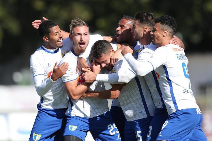 Hugo Gomes festeja um golo pelo Famalicão, onde esteve em 2018/19