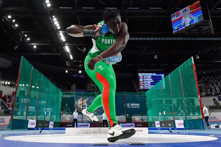 Portugal's Auriol Dongmo competes in the Women's Shot Put heats at the 2021 European Athletics Indoor