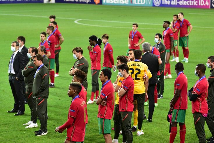 epa09252211 Players and staff members of Portugal react after losing the UEFA European Under-21 Championship