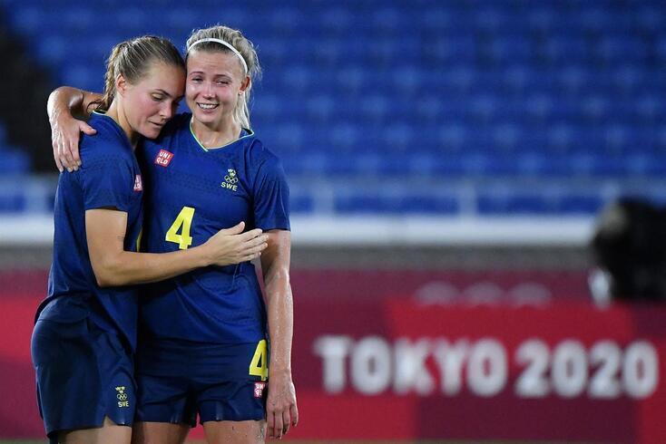 Alegria e emoção das jogadoras suecas