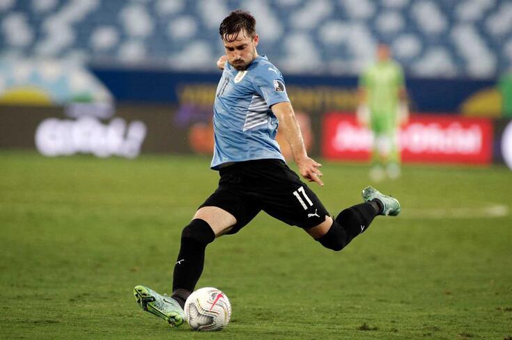 Matias Viña joga no Palmeiras, mas neste momento está ao serviço da seleção do Uruguai na Copa América