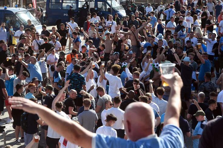 Supporters gather at Ribeira in Porto on May 28, 2021 on the eve of UEFA Champions League final football