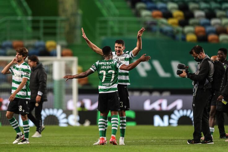 epa09172901 Sporting's Feddal (R) and Jovane celebrate after the Portuguese First League soccer match
