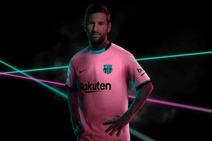 Lionel Messi e o terceiro equipamento do Barcelona