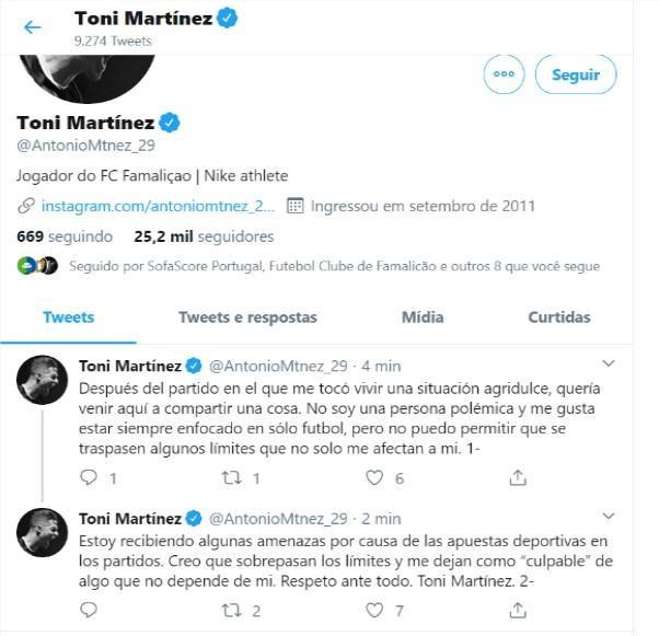 "Toni Martínez: ""Estou a ser ameaçado por causa das apostas desportivas"""