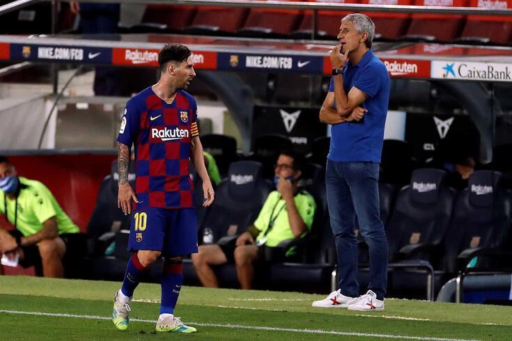 Lionel Messi e Quique Setién