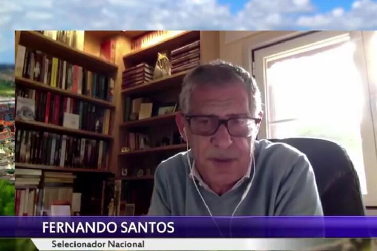 """O selecionador nacional Fernando Santos durante o webinar """"Futebol em Tempos de Pandemia"""", organizado"""