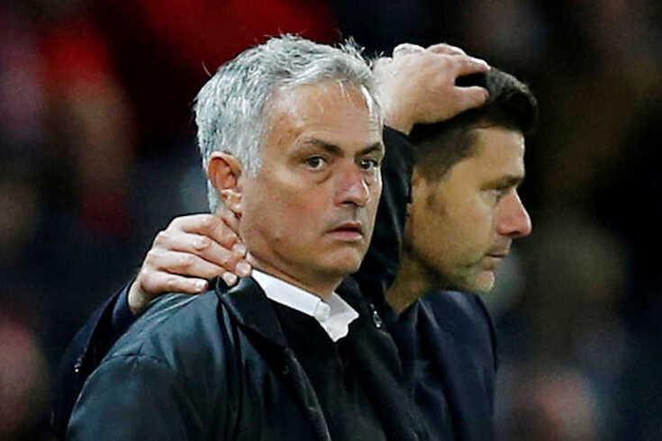 José Mourinho com Mauricio Pochettino