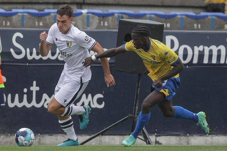 Ugarte jogou pelo Famalicão contra o Estoril, para a Taça da Liga
