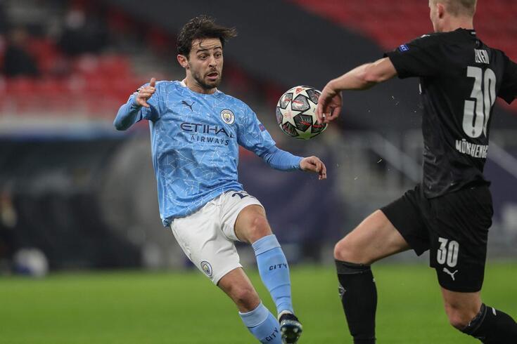 Bernardo Silva fez o primeiro golo no jogo da primeira mão, em Budapeste, contra o Monchengladbach'