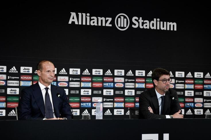Massimiliano Allegri e Andrea Agnelli na conferência desta terça-feira