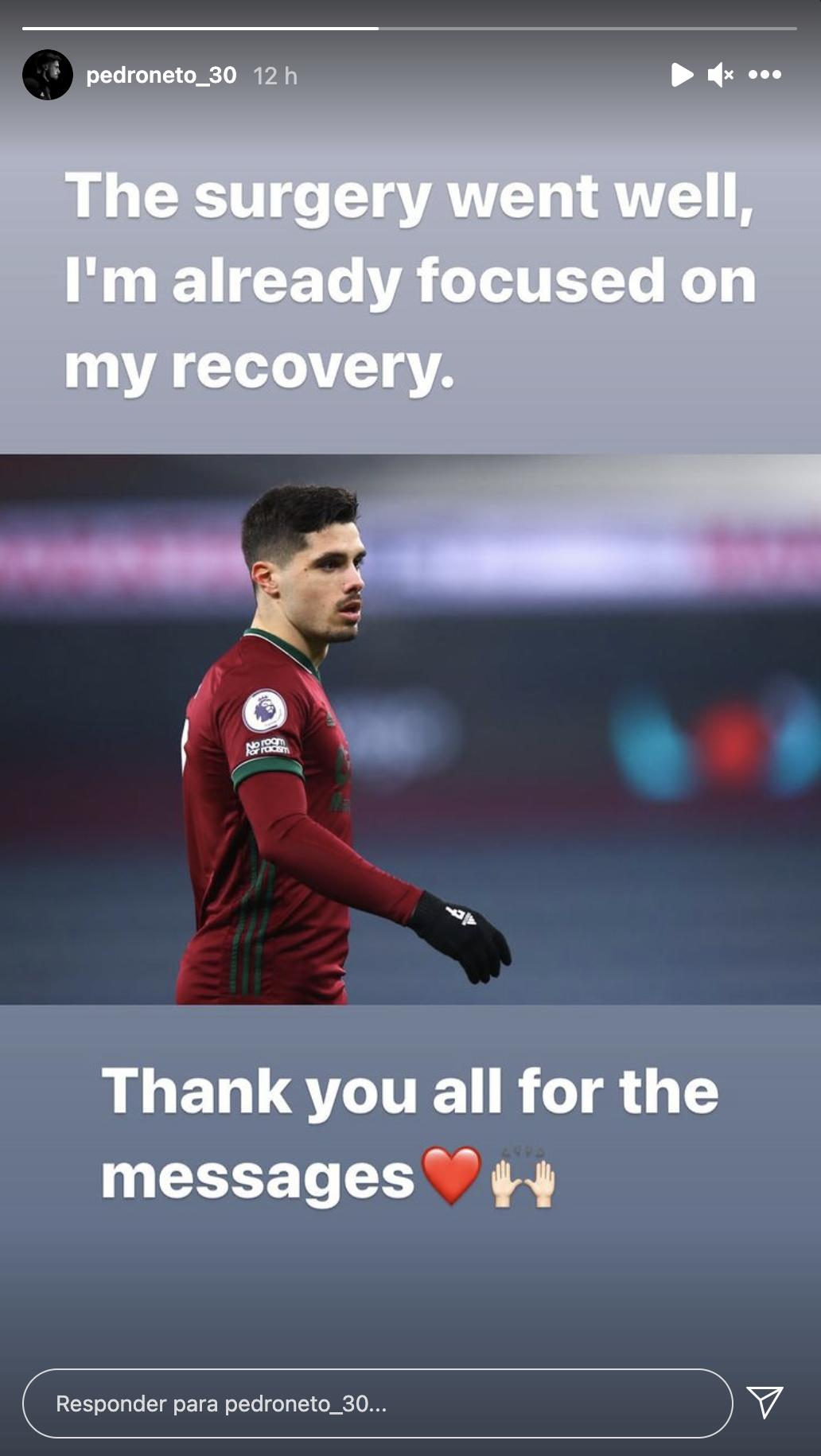 """Pedro Neto foi operado ao joelho: """"Correu bem e já estou focado na recuperação"""""""