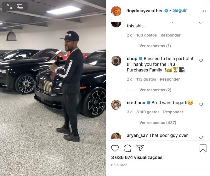 Floyd Mayweather exibe impressionante coleção de carros e até  Ronaldo comenta