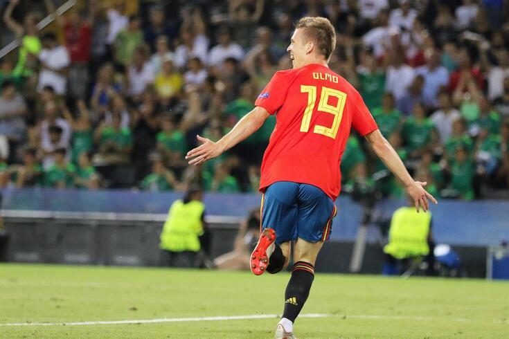 Dani Olmo com a camisola sub-21 de Espanha