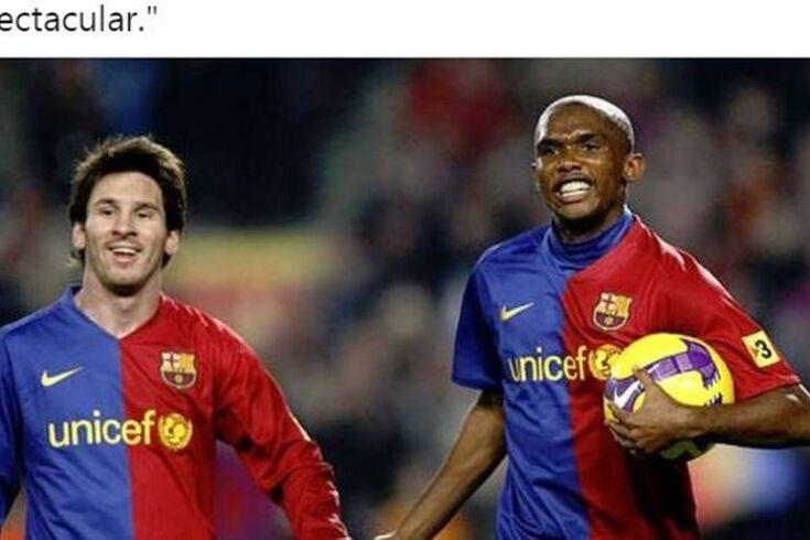 Messi e Eto'o juntos no Barça