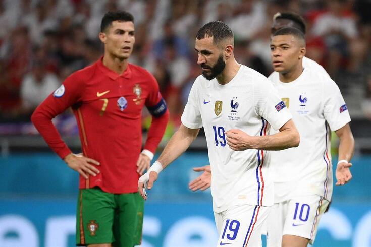 Cristiano Ronaldo e Mbappé cruzaram-se no Euro'2020