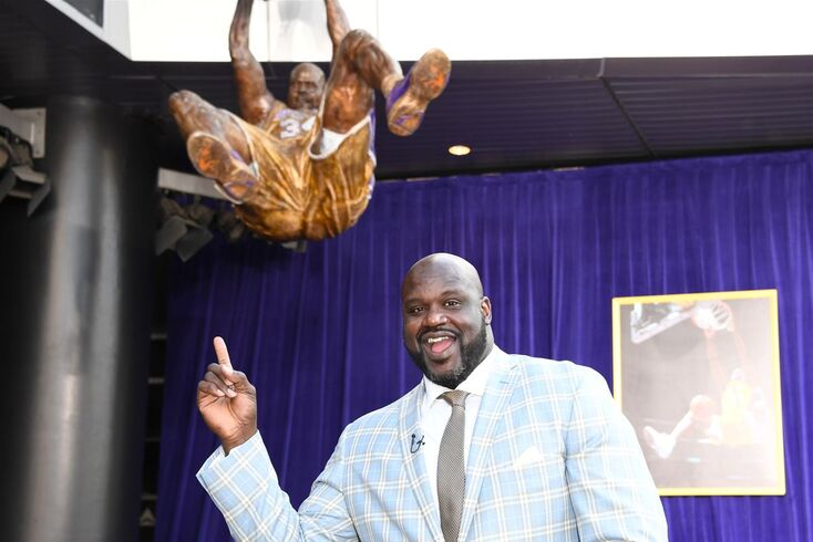 Mar 24 2017 Los Angeles CA USA Los Angeles Lakers former center Shaquille O'Neal poses at statue unveiling