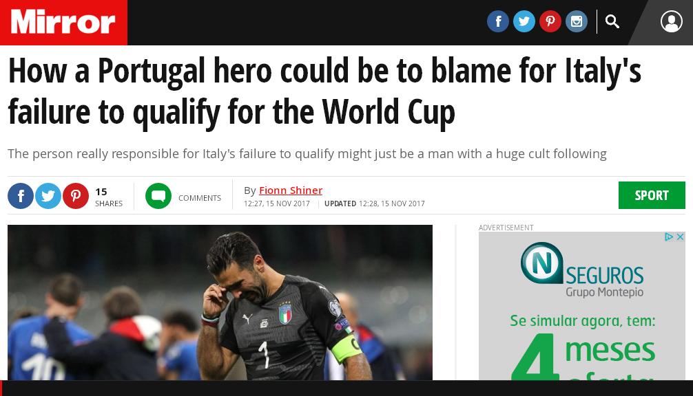 """Jornal """"Mirror"""" explica como Éder contribuiu para a Itália falhar o Mundial"""