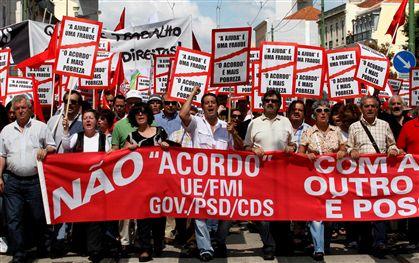 A CGTP realizou hoje protestos em Lisboa e no Porto contra o acordo de Portugal com a Troika para empréstimo de 78 milhões de euros.