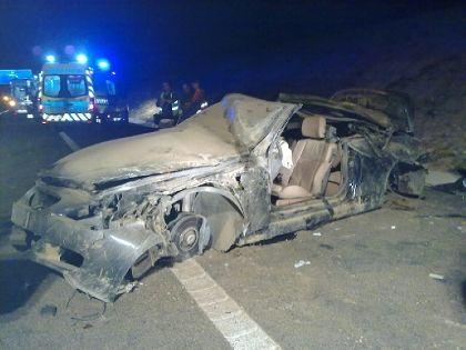 O BMW em que seguia Angélico Vieira ficou totalmente destruído