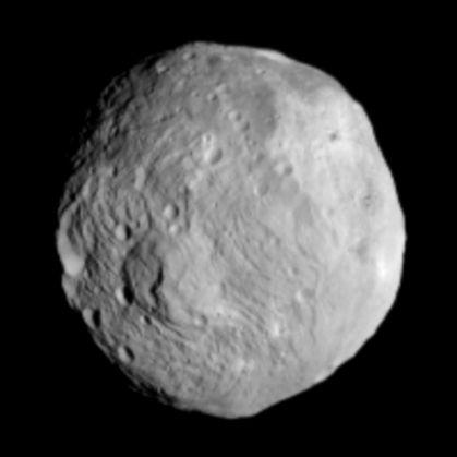 Uma das fotos tirada ao asteróide Vesta