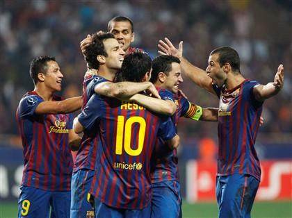 O Barça comemora mais uma vitória