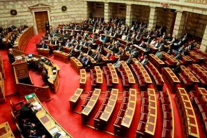 Votação da moção de confiança ao governo no parlamento grego