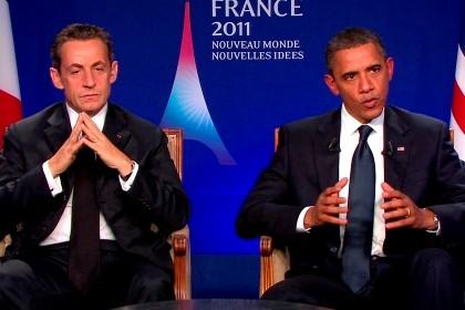 Barack Obama e Nicolas Sarkozy durante a entrevista conjunta.