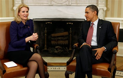 Barack Obama recebeu hoje a primeira-ministra dinamarquesa, Helle Thorning-Schmidt, na Sala Oval.