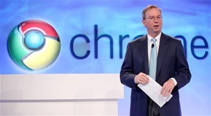 O presidente executivo da Google, Eric Schmidt, durante a apresentação do Chrome