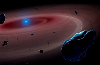 Material rochoso orbita em torno de uma estrela-anã.