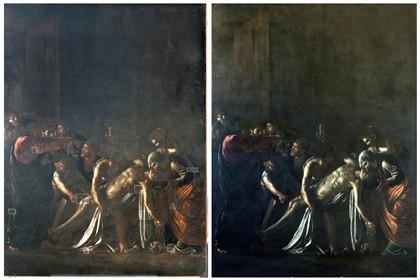 'A Ressurreição de Lázaro' antes (esquerda) e depois do restauro