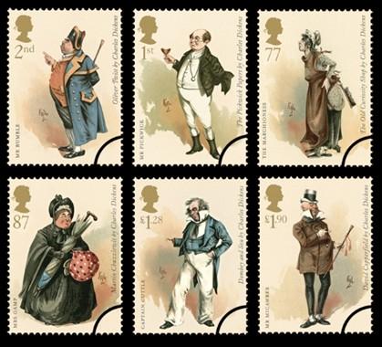 Coleção de selos para celebrar o bicentenário de Dickens