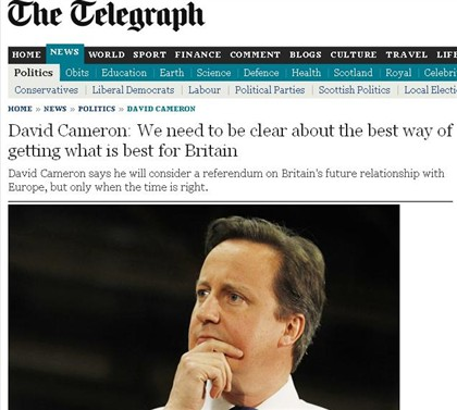David Cameron defende referendo sobre Uni�o Europeia