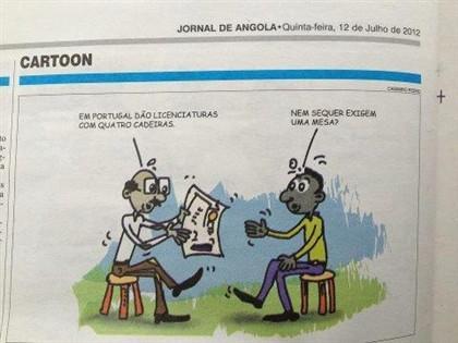 Imagem do cartoon publicado a 12 de julho no Jornal de Angola.