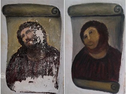 Idosa decide 'restaurar' fresco em igreja