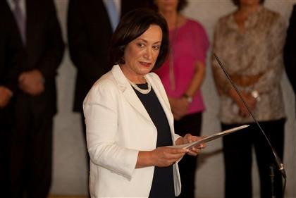 Joana Marques Vidal hoje na sua tomada de posse como PGR.