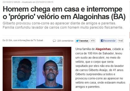 A notícia no site G1, da Globo, com a fotografia do morto e de Gilberto Araújo