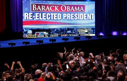Vitória de Obama anunciada no comício em Chicago